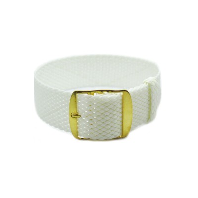 HNS White Perlon Tropic Braided Woven Strap With Gold Brushed Stainless Steel Buckle
