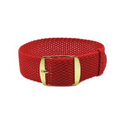 HNS Red Perlon Tropic Braided Woven Strap With Gold Brushed Stainless Steel Buckle