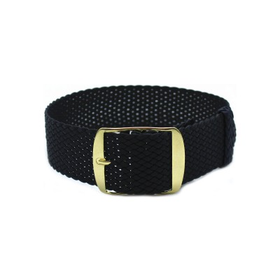 HNS Black Perlon Tropic Braided Woven Strap With Gold Brushed Stainless Steel Buckle