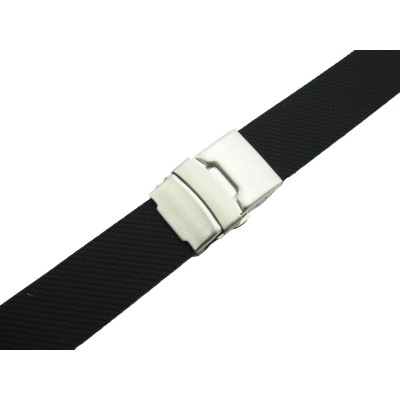 HNS BLACK SILICONE DIVER RUBBER GRID WATCH STRAP WITH DEPLOYMENT BUCKLE