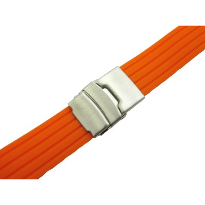 HNS ORANGE SILICONE DIVER RUBBER WATCH STRAP WITH DEPLOYMENT BUCKLE