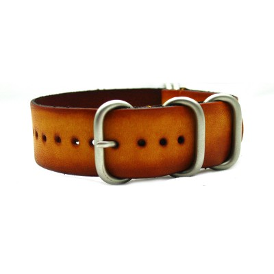 HNS Handmade Vintage Washing Style Honey Calf Leather Watch Strap With 5 Matt Stainless Steel Rings