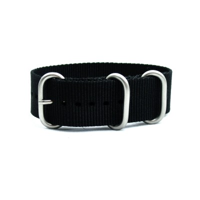 HNS Black Heavy Duty Ballistic Nylon Watch Strap with 3 Matt Stainless Steel Rings