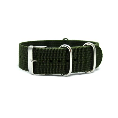 HNS Olive Drab Heavy  Duty Ballistic Nylon Watch Strap With 3 Polished Stainless Steel Rings