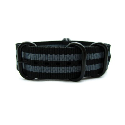 HNS James Bond 007 Black & Grey  Heavy Duty Ballistic Nylon Watch Strap With 5 PVD Coated Stainless Steel Rings