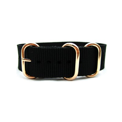 HNS Black Heavy Duty Ballistic Nylon Watch Strap With 3 Rose Gold Plated Stainless Steel Rings