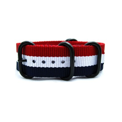 HNS France Flag Red & White & Blue Heavy Duty Ballistic Nylon Watch Strap With 5 PVD Coated Stainless Steel Rings