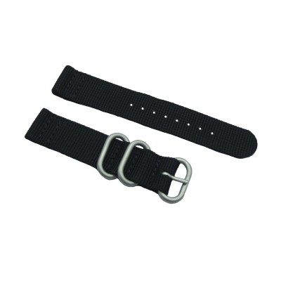 HNS 2 Pieces Black Heavy Duty Ballistic Nylon Watch Strap With 3 Matte Coated Stainless Steel Rings