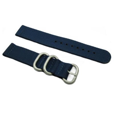 HNS 2 Pieces Navy Heavy Duty Ballistic Nylon Watch Strap With 3 Matt Stainless Steel Rings