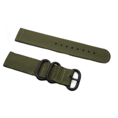 HNS 2 Pieces Olive Heavy Duty Ballistic Nylon Watch Strap With 3 PVD Coated Stainless Steel Rings