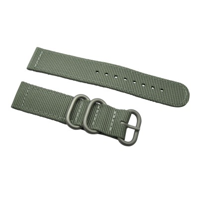 HNS 2 Pieces Dark Grey Heavy Duty Ballistic Nylon Watch Strap With 3 Matt Stainless Steel Rings