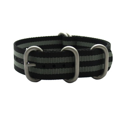 HNS 007 Bond Black & Grey Heavy Duty Ballistic Nylon Watch Strap with 5 Matt Stainless Steel Rings
