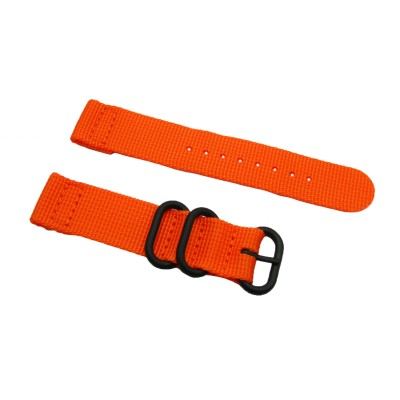 HNS 2 Pieces Orange Heavy Duty Ballistic Nylon Watch Strap With 3 PVD Coated Stainless Steel Rings