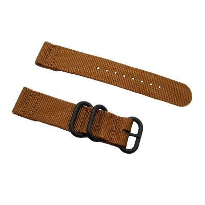 HNS 2 Pieces Khaki Heavy Duty Ballistic Nylon Watch Strap With 3 PVD Coated Stainless Steel Rings
