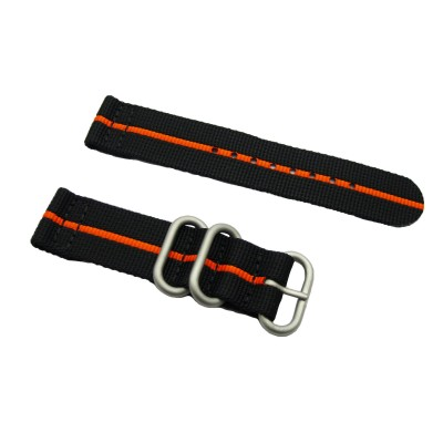 HNS 2 Pieces Black with Orange Heavy Duty Ballistic Nylon Watch Strap With 3 Matte Rings