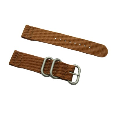 HNS 2 Pieces Khaki Heavy Duty Ballistic Nylon Watch Strap With 3 Matte Stainless Steel Rings