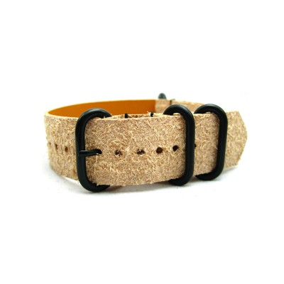 HNS Handmade Rough Style Light Tan Calf Leather Watch Strap With 4 PVD Coated Stainless Steel Rings