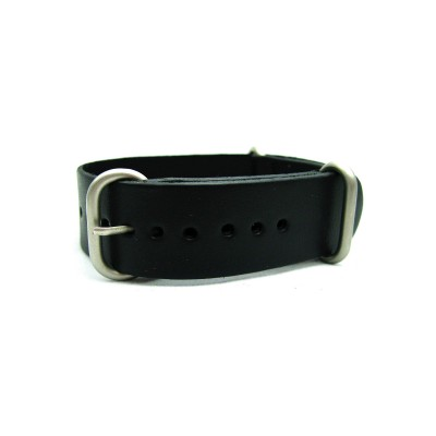 HNS Handmade Black Calf Leather Watch Strap With 3 Matt Stainless Steel Rings