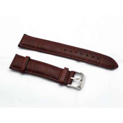 HNS 20MM GENUINE RED BROWN LEATHER CROCO GRAIN WATCH BAND WITH BLACK LINE