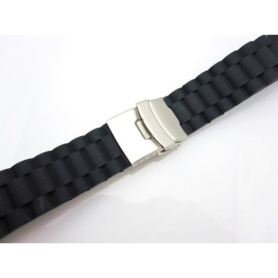 HNS 22MM BLACK SILICONE DIVER RUBBER WATCH STRAP WITH DEPLOYMENT BUCKLE