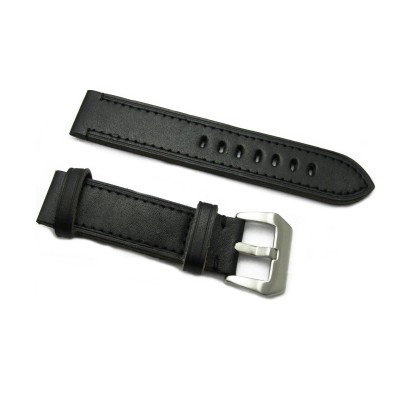 HNS Handmade Black Calf Leather Watch Strap With 2 Leather Rings