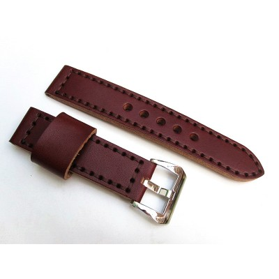 HNS 22MM Handmade Italian Dark Brown Calf Strap With Handed Brown Sewn In PRE-V Brushed Buckle