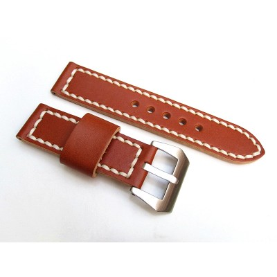 HNS 22MM Handmade Italian Calf Tan Strap With Handed White Sewn PRE-V Brushed Buckle