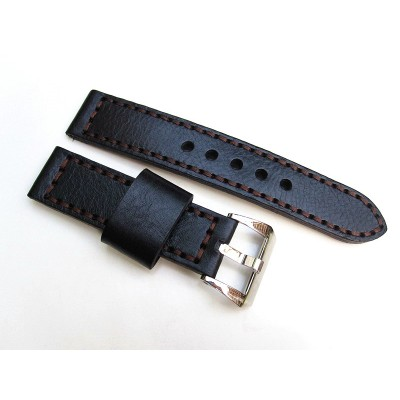 HNS 22MM Handmade Italian Calf Black Strap With Handed Brown Sewn In PRE-V Polished Buckle