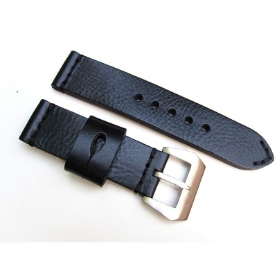 HNS 24MM Handmade Natural Black Strap With Handed Black Sewn In PRE-V Brushed Buckle