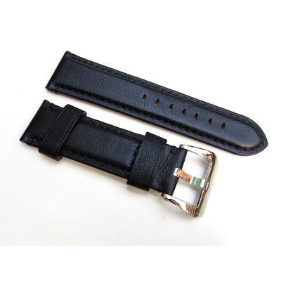 HNS 24MM Handmade Natural Black Strap With Black Sewn In PRE-V Polished Buckle