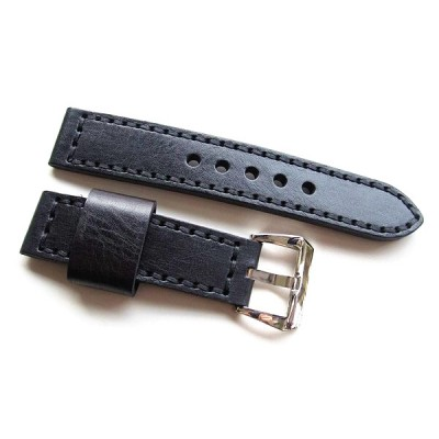 HNS 22MM Handmade Italian Calf Black Strap With Handed Black Sewn PRE-V Polished Buckle
