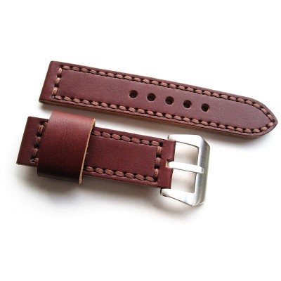 HNS 24MM Handmade Italian Dark Tan Calf Strap With Handed Tan Sewn In PRE-V Brushed Buckle
