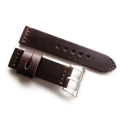 HNS 24MM Handmade Italia Dark Brown Strap With Handed Tan Sewn PRE-V Brushed Buckle