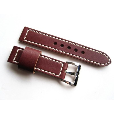 HNS 24MM Handmade Italian Dark Tan Calf Strap With Handed White Sewn PRE-V Polished Buckle