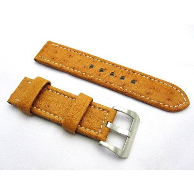 HNS 24MM Australia Ostrich Light Tan Strap With White Sewn In Brushed Buckle