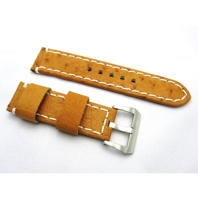 HNS 24MM Australia Ostrich Light Tan Strap With White Rough Sewn In Brushed Buckle
