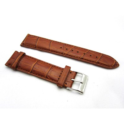 HNS 20MM HONEY BROWN GENUINE LEATHER CROCO GRAIN WATCH BAND WITH BROWN LINE