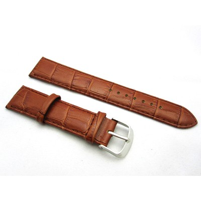 HNS 20MM BROWN GENUINE LEATHER CROCO GRAIN WATCH BAND WITH BROWN LINE