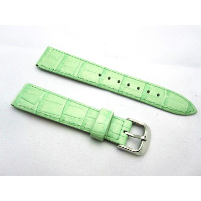 HNS 18MM BABY GREEN GENUINE LEATHER PATTERN WATCH BAND WITH GREEN LINE