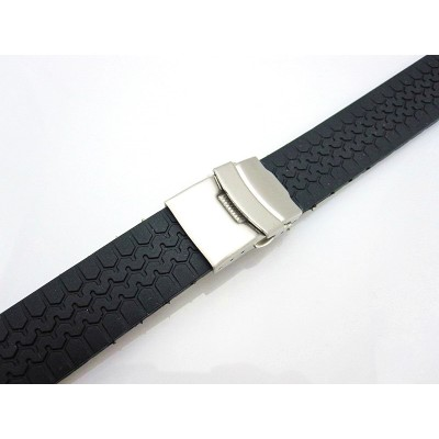 HNS 20MM BLACK SILICONE DIVER RUBBER WATCH STRAP WITH DEPLOYMENT BUCKLE