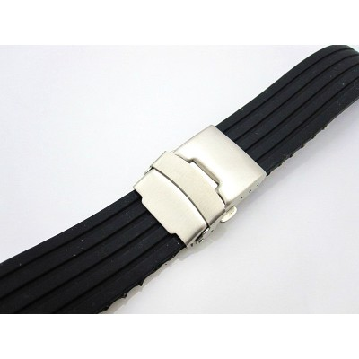 HNS BLACK SILICONE DIVER RUBBER WATCH STRAP WITH DEPLOYMENT BUCKLE