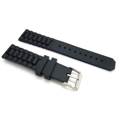 HNS 19MM BLACK SILICONE DIVER RUBBER WATCH STRAP