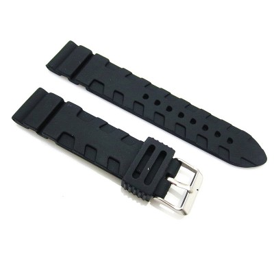 HNS 21MM BLACK SILICONE DIVER RUBBER TIRES LINES WATCH STRAP