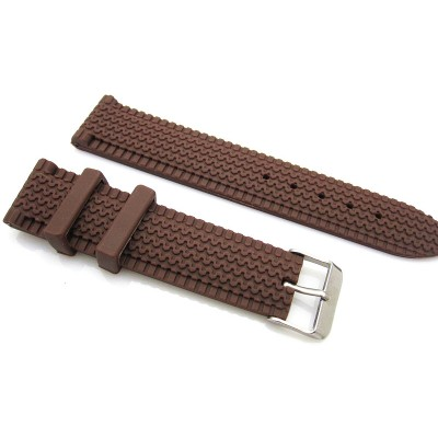 HNS 22MM BROWN SILICONE DIVER RUBBER TIRES LINES WATCH STRAP