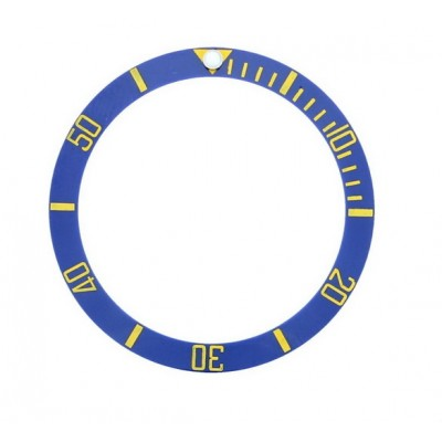 BLUE WITH GOLDEN NUMBERS CERAMIC BEZEL FOR SUBMARINER STYLE WATCH